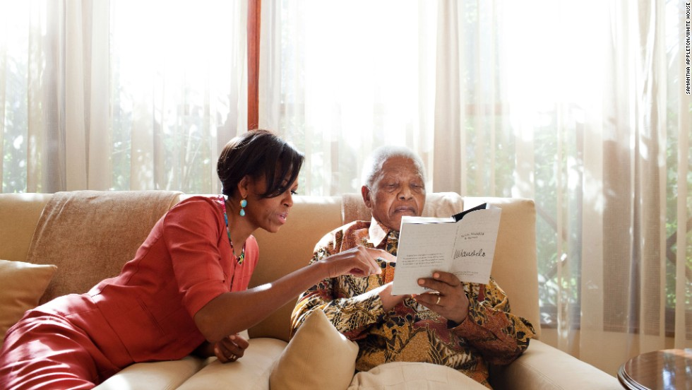 The first lady traveled to South Africa in June 2011, where she met with former President Nelson Mandela at his home.  The visit included stops in Pretoria, Cape Town and Gaborne, Botswana, where she spoke at the Young African Women Leaders Forum.