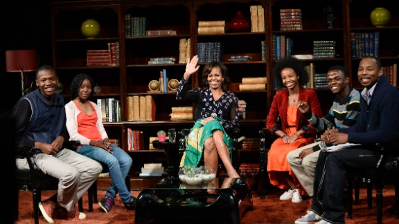 The Obamas traveled to Senegal, South Africa, and Tanzania in June 2013.  Here, Mrs. Obama participates in a discussion with students in Johannesburg.