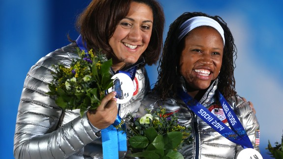 Meyers, pictured left with Williams, has been able to bounce back from her Russian disappointment by focusing on rugby and her upcoming wedding to fellow bobsledder Nic Taylor.