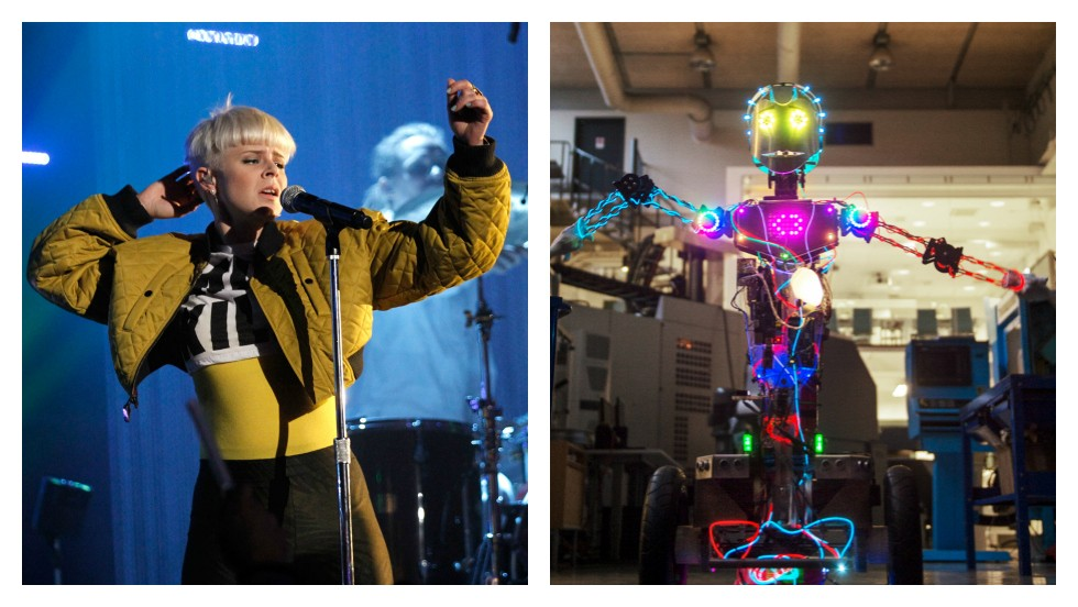 "<strong>ROUND NINE: DANCING</strong><br /><br />Swedish pop star <a href=""http://www.wired.co.uk/news/archive/2014-03/11/robyn-robot"" target=""_blank"">Robyn</a> is a big fan of robots. So much so that she helped a group of science students create a machine in her image -- called none other than <a href=""https://www.youtube.com/watch?v=azn6nt_z-UM"" target=""_blank"">""Robyt.""</a><br /><br />The bot -- which is made of moped motors and 3D printed parts -- listens to Robyn's songs and <a href=""https://www.youtube.com/watch?v=CcNo07Xp8aQ"" target=""_blank"">dances on its own</a>. It's impressive, but it still doesn't quite beat the real thing.<br /><br />When it comes to dancing, humans still come out on top.<br /><br /><strong><em>SCORE: Machine 5, Man 5</em></strong><br /><br />[Images: Christopher Polk/Getty Images for LOGO; Courtesy KTH Royal Institute of Technology]"