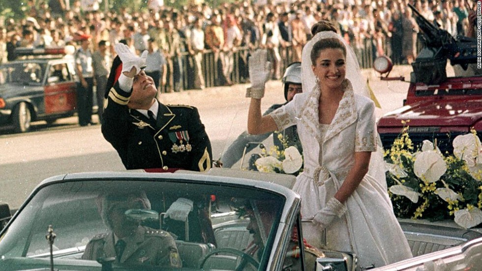 Jordanian Crown Prince Abdullah and his wife Rania on their wedding day in Amman on June 10, 1993.