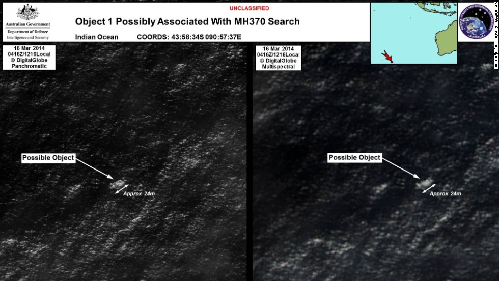 Satellite imagery provided by the Australian Maritime Safety Authority on March 20, 2014, showed debris in the southern Indian Ocean that could have been from Flight 370. The announcement by Australian officials raised hopes of a breakthrough in the frustrating search.