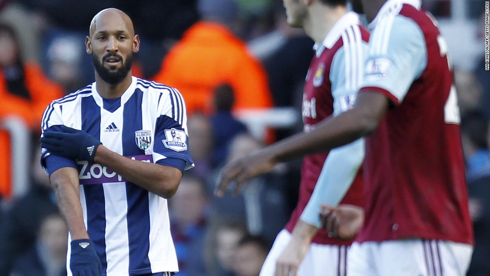 "Former France striker Nicolas Anelka was handed a five-match ban by the English FA for making a ""quenelle"" gesture after scoring for West Brom against West Ham in December 2013. The gesture is believed by some to be a Nazi salute in reverse and has been linked with anti-Semitism in Anelka's homeland."