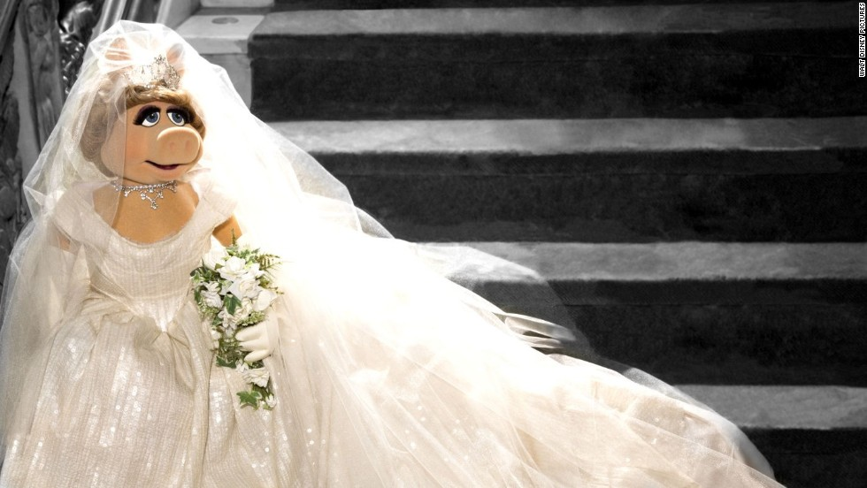 "Miss Piggy wouldn't say whether she and Kermit tied the knot in their last movie, ""Muppets Most Wanted,"" but she has a Vivienne Westwood-designed bridal gown at the ready just in case. ""Vivienne Westwood is fabulous -- just like moi,"" Piggy said in a statement. ""When I asked her to design this wedding dress for moi's new movie 'Muppets Most Wanted,' she was thrilled and I was thrilled. The only one a bit iffy about it was the frog."""
