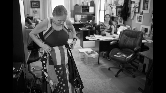 Shirley Phelps-Roper, then a 54-year-old law office manager, adjusts a makeshift skirt she routinely wears during pickets.