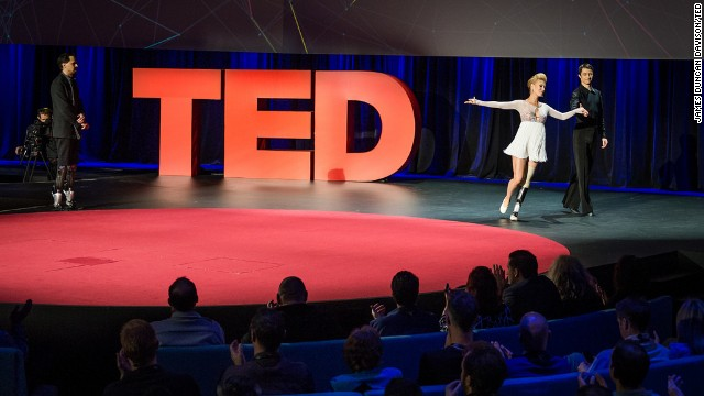 MIT's Hugh Herr, left, with dancers Adrianne Haslet-Davis and Christian Lightner at TED2014