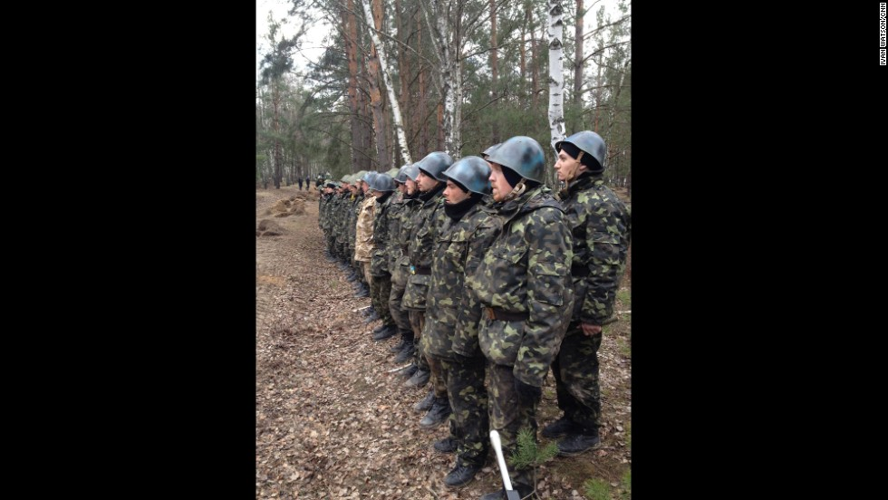 "NEAR KIEV, UKRAINE: ""Fresh recruits to Ukraine's National Guard Reserves (March 20).  All of them are former anti-government militiamen from Kyiv's Maydan. They've all signed up within the last week as part of a mass recruitment program announced by the interim Ukrainian government."" - CNN's Ivan Watson.   <a href=""http://instagram.com/p/lx7YI_CDUj/"" target=""_blank"">WATCH THE INSTAGRAM VIDEO</a>  from Ivan of a curious ""hand grenade"" simulation exercise performed by new Ukrainian National Guard reserve recruits.  Follow Ivan on Instagram at<a href=""http://instagram.com/ivancnn"" target=""_blank""> instagram.com/ivancnn</a>."