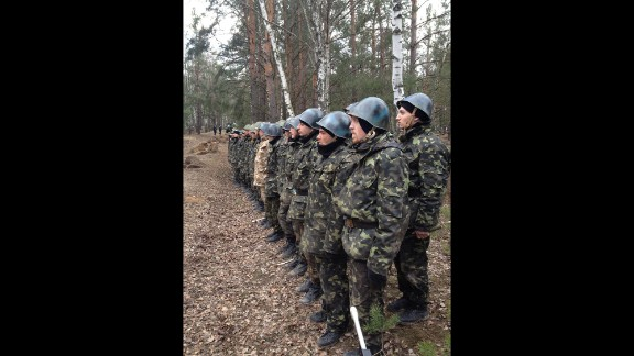 """NEAR KIEV, UKRAINE: """"Fresh recruits to Ukraine's National Guard Reserves (March 20).  All of them are former anti-government militiamen from Kyiv's Maydan. They've all signed up within the last week as part of a mass recruitment program announced by the interim Ukrainian government."""" - CNN's Ivan Watson.   WATCH THE INSTAGRAM VIDEO  from Ivan of a curious """"hand grenade"""" simulation exercise performed by new Ukrainian National Guard reserve recruits.  Follow Ivan on Instagram at instagram.com/ivancnn."""