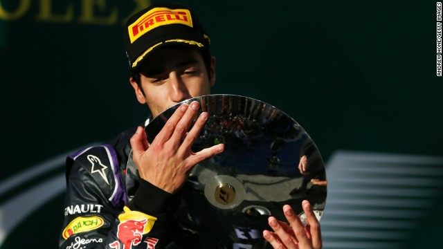 Australian Daniel Ricciardo briefly celebrated on the podium at his home grand prix, before learning he had been disqualified.
