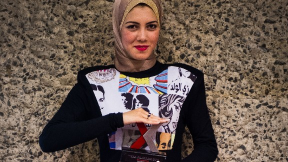 The feminist rapper is constantly challenging gender expectations. While accepting the award for her continued fight against sexual harassment of women in Egypt, Mahmoud wore a floor-length dress emblazoned with women's rights graffiti.