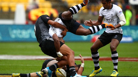 Bosh! Ioane tackles Jona Tuitoga during the pool B match between New Zealand and Fiji in Wellington.