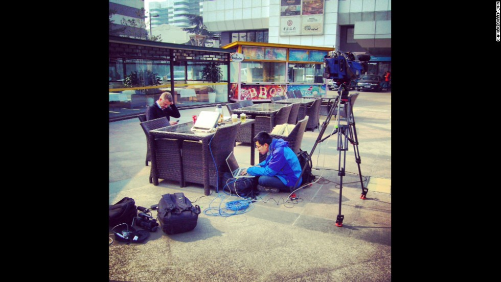"""Set up for 'live' outside a hotel near Beijing airport where family and friends of passengers aboard Malaysian flight 370 are awaiting news of their loved ones."" By CNN's Charlie Miller, March 8. Follow Charlie on Instagram at <a href=""http://instagram.com/cnncharlie"" target=""_blank"">instagram.com/cnncharlie</a>."
