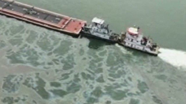 Oil spews into bay after ship collision
