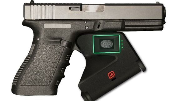 """Smart guns aim to use technology to prevent gun misuse. The """"Identilock"""" device is at the prototype stage. It attaches to the trigger and uses fingerprint sensors to ensure the gun can only be fired by an authorized user."""