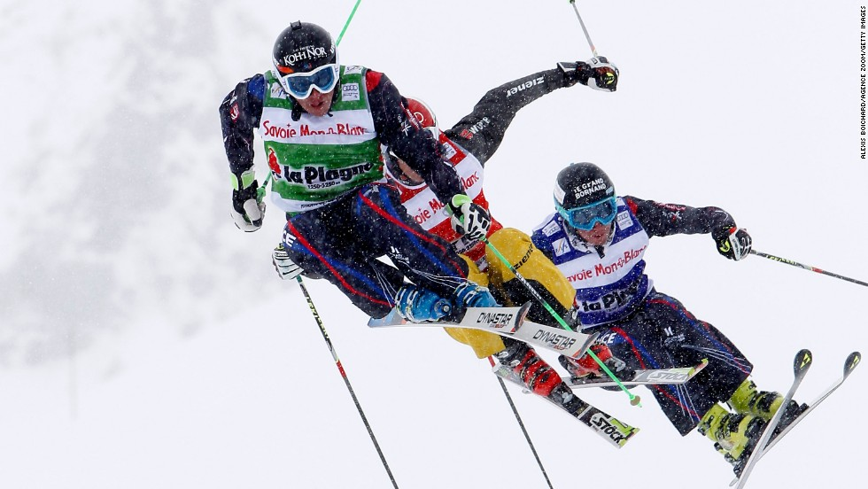Jean-Frederic Chapuis takes first place in ski cross during the Freestyle Ski World Cup event in La Plagne, France, on Sunday, March 23.