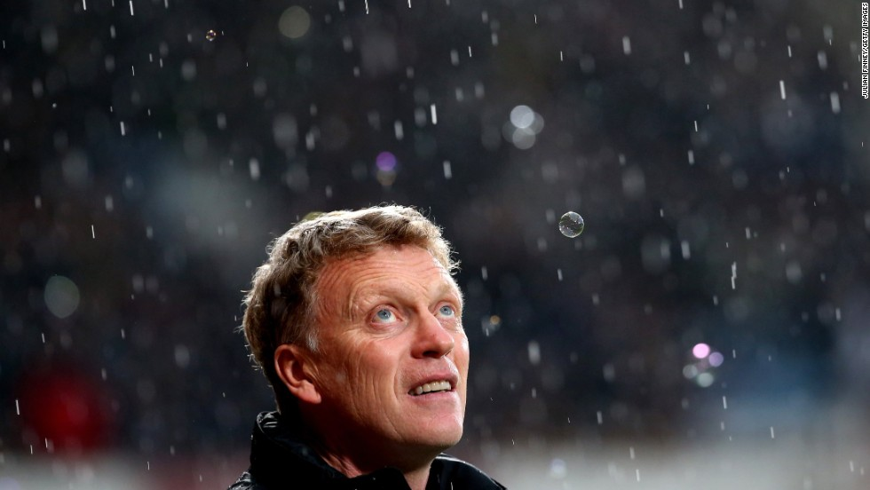 Manchester United manager David Moyes looks up prior to the Premier League soccer match against West Ham on Saturday, March 22, in London.