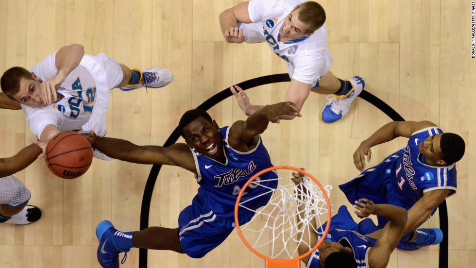Tulsa's D'Andre Wright reaches for a rebound against UCLA during their NCAA Tournament game on Friday, March 21.