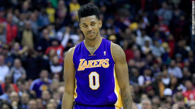 Nick Young #0 of the Los Angeles Lakers reacts after missing a three pointer during the closing seconds of Lakers' loss in November 2013