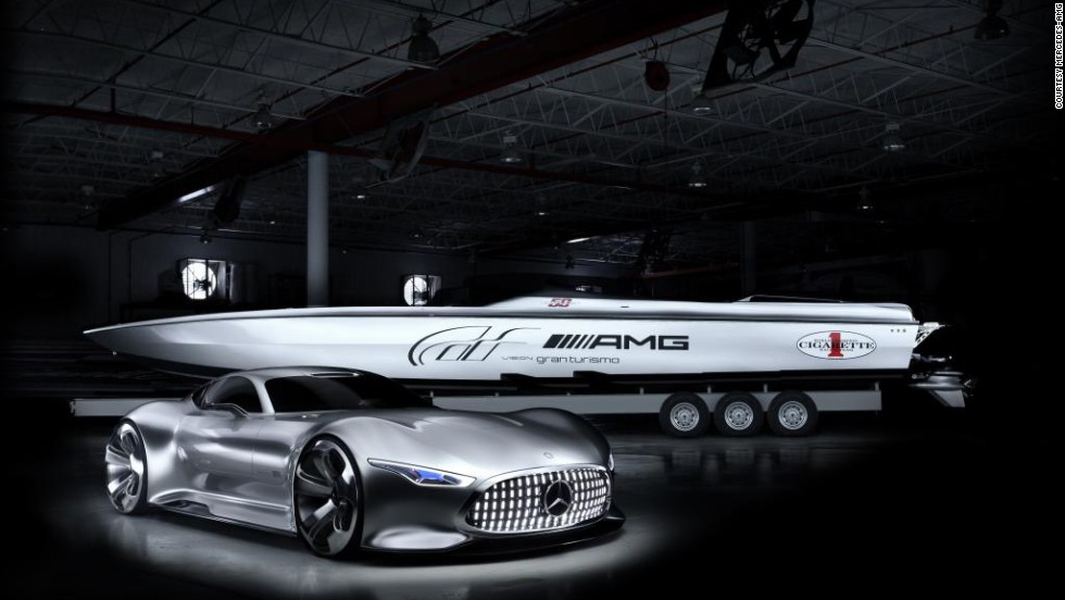 But what would a vessel designed by Mercedes-Benz actually look like? The German car company collaborated with Cigarette Racing on this Gran Turismo concept boat.