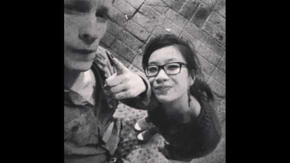 """Teens Hadrien Wattrelos and Zhao Yan are shown in a photo on Wattrelos' Facebook page. The photo is captioned, simply, """"I love you,"""" in French."""