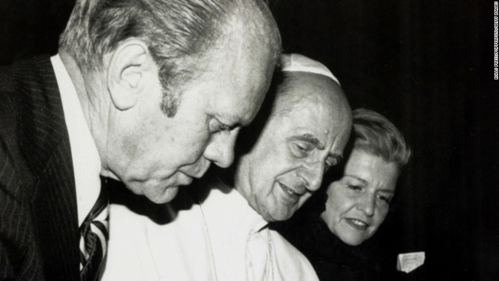 President Gerald Ford and first lady Betty Ford visit Pope Paul VI at the Vatican in 1975.