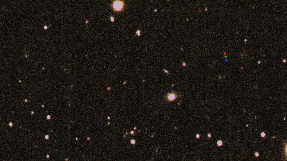 In this combined image, the colored dots show the movement of 2012 VP113. Each image was taken two hours apart.