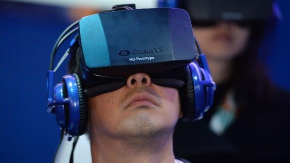 A gamer wearing an Oculus virtual-reality headset.