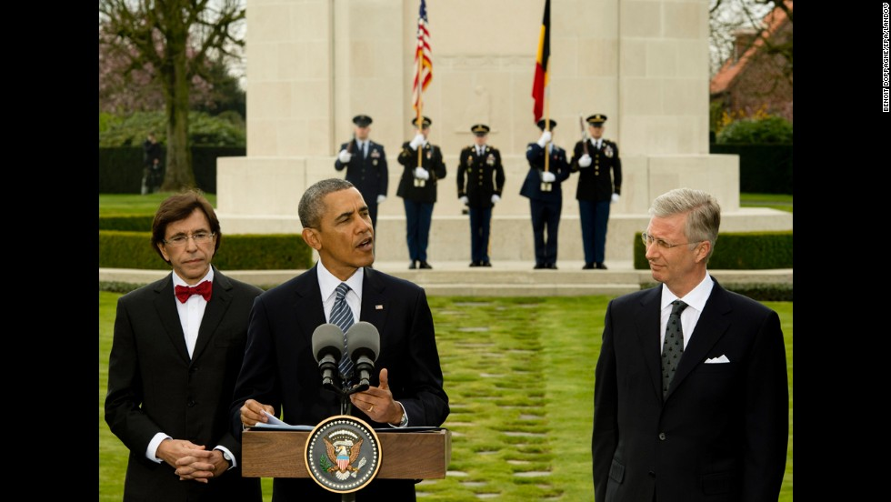 Obama is flanked by Belgium's King Philippe, right, and Belgian Prime Minister Elio Di Rupo as he delivers an address in Waregem, Belgium, on Wednesday, March 26.