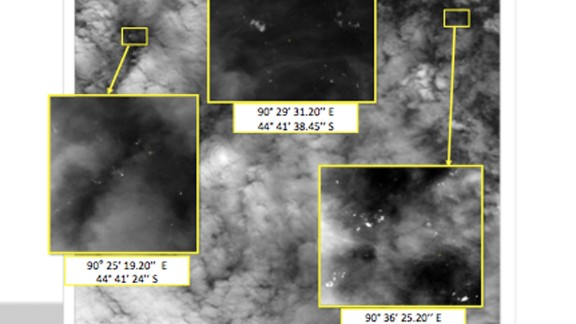 This handout Satellite image made available by the MRSA (Malaysian Remote Sensing Agency) and dated March 23, 2014, shows the location of unknown objects in the southern Indian Ocean, off the South West Coast of Perth, Australia. French, Chinese and Australian authorities have reported satellite sightings of unknown objects in the southern Indian Ocean.