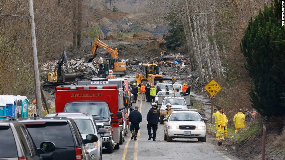 Emergency vehicles fill State Route 530 leading to the scene of the landslide in Oso on Wednesday, March 26.
