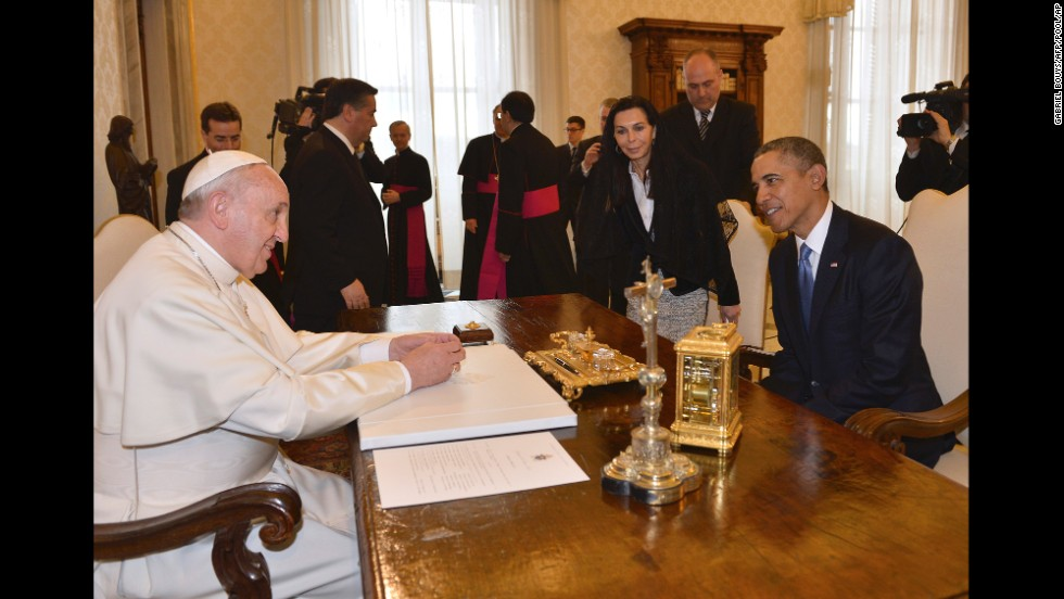 During their meeting, nearly an hour long, Obama invited the Pope to the White House.