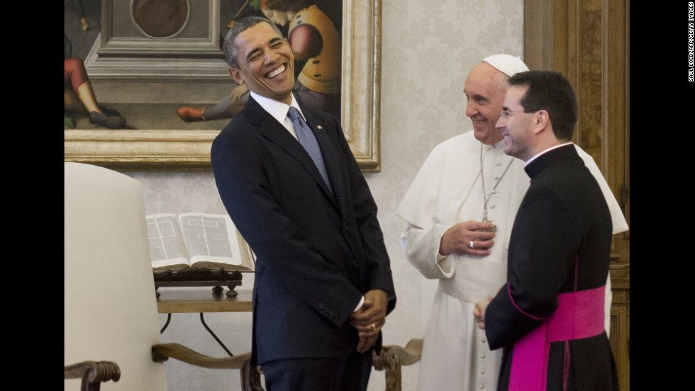 Francis speaks with US President Barack Obama at the Vatican in March 2014.