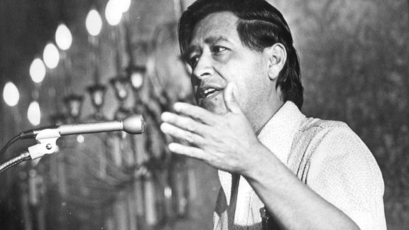 JUL 12 1974, JUL 14 1974 Cesar Chavez Addresses Rally in Denver Indian Center ***** predicted victory to United Farm Workers over Teamsters union in dispute. Credit: Denver Post