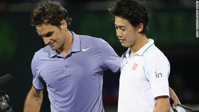 Roger Federer, left, lost to Kei Nishikori at the Miami Masters after leading by a set and break.