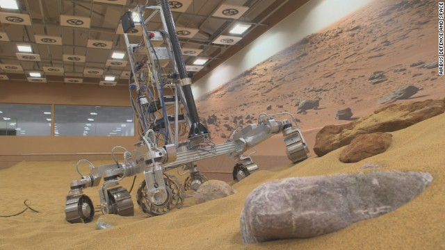 "The ""Mars Yard"" is being used to help develop the European Space Agency's future Mars rover."