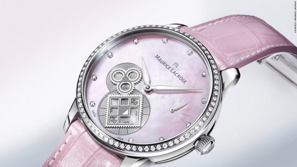 Ladylike luxury was on the agenda for this delicate Maurice Lacroix Masterpiece Square Wheel, which channels soft femininity with a shimmering pink mother of pearl dial, sparkling diamond case and crocodile leather strap.
