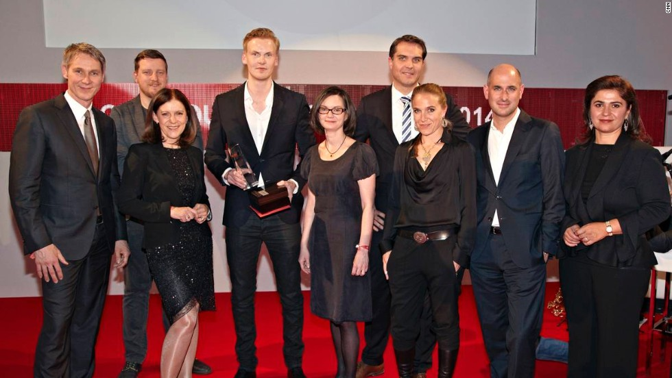 "Claas Relotius was named CNN Journalist of the Year and won the best Print category for the story ""Murderers as Carers,"" which was first published in Swiss magazine Reportagen. He's pictured here fourth from the left with the rest of the judging panel."
