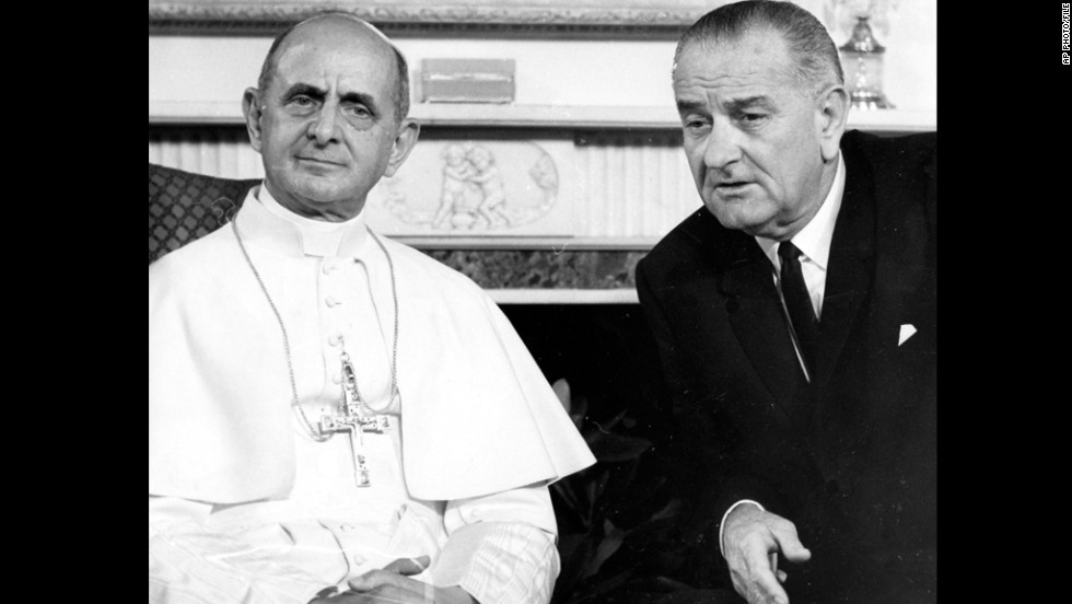 Oct. 4, 1965, Pope Paul VI and President Lyndon B. Johnson are seen during the Pontiff's visit to New York.