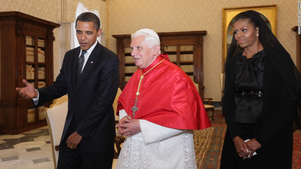 President Barack Obama and First Lady Michelle Obama meet with Pope Benedict XVI in his library at the Vatican on July 10, 2009.