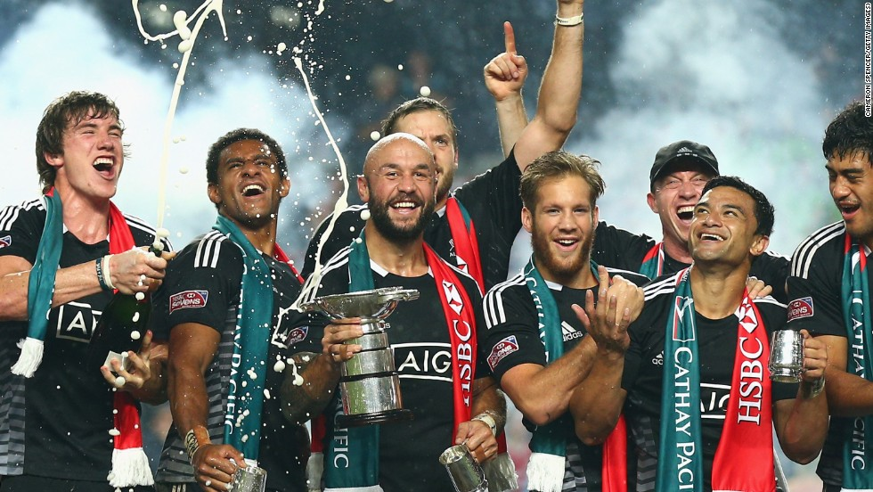DJ Forbes and the New Zealand team celebrate lifting the HSBC Hong Kong Sevens trophy after beating England in the final.  Their victory comes at the end of a three-day festival which is one of the highlights of the social scene in Hong Kong.