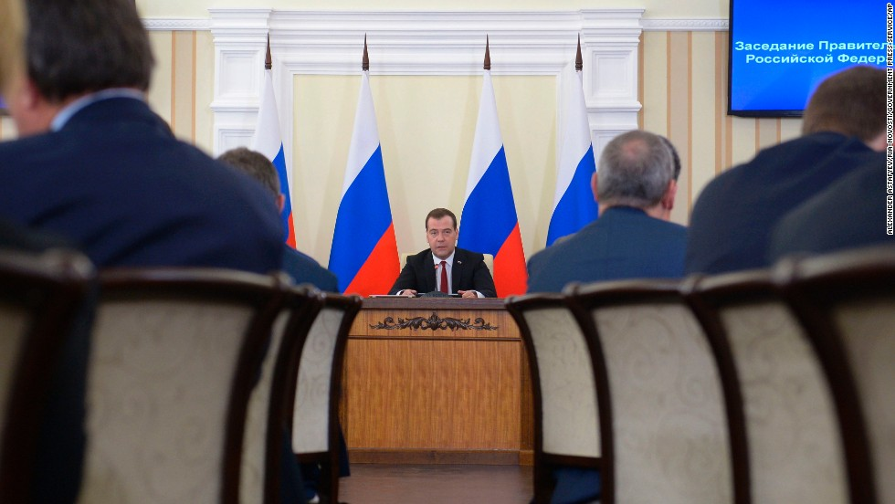 Russian Prime Minister Dmitry Medvedev speaks about the economic development of Crimea during a meeting March 31 in Simferopol.