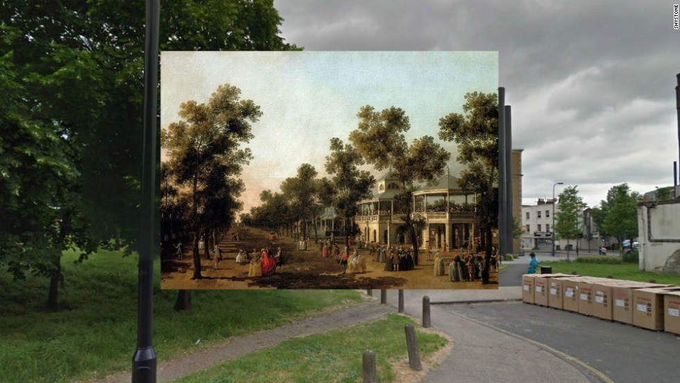 "For Londoners in the 1600s, Pleasure Gardens in Vauxhall were a legendary destination for music and entertainment. Pictured here is Canaletto's painting ""View of The Grand Walk"" from 1751."