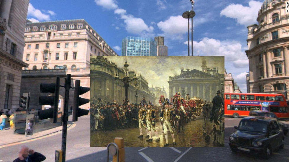 This painting by William Logsdail from 1890 shows Lord Mayor's Procession passing through Bank Junction in the City of London. It captured The Old Bank of England which has since been demolished.
