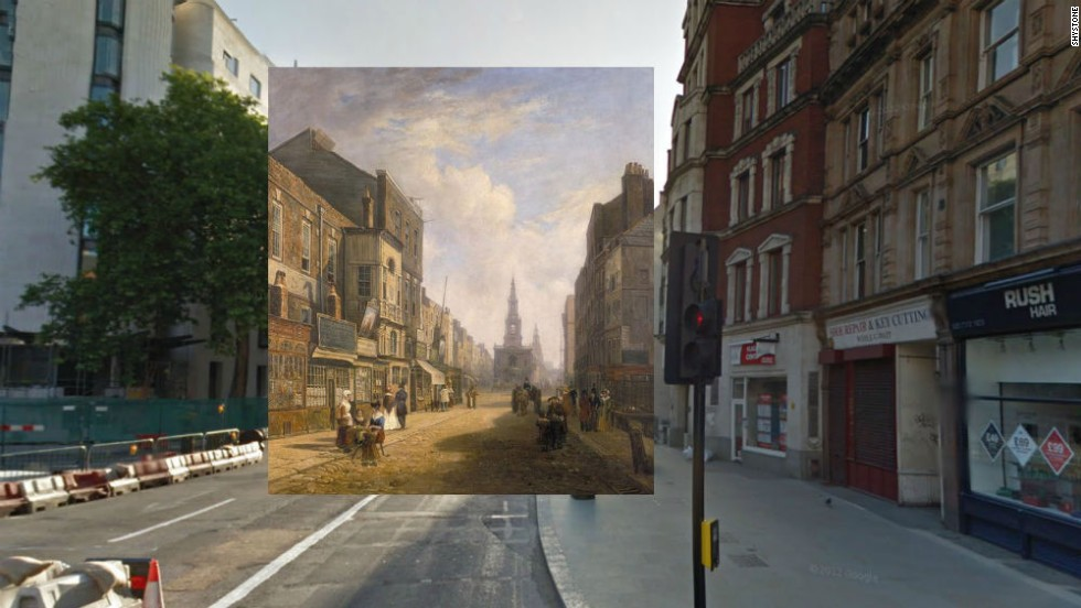 The Strand is a major thoroughfare cutting through central London, and a view of it looking east is shown here in a painting by an anonymous artist. The buildings on the right of the picture are mostly all gone.