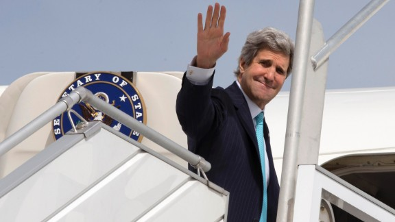 U.S. Secretary of State John Kerry leaves Paris on March 31, 2014, for his trip to the Middle East.