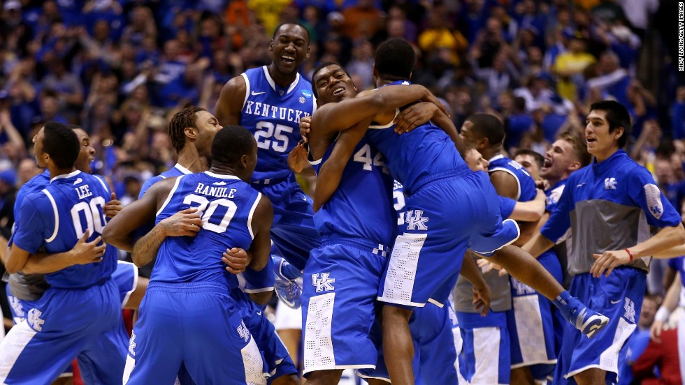 The Kentucky men's basketball team celebrates Sunday, March 30, after defeating Michigan and advancing to the Final Four of the NCAA Tournament.