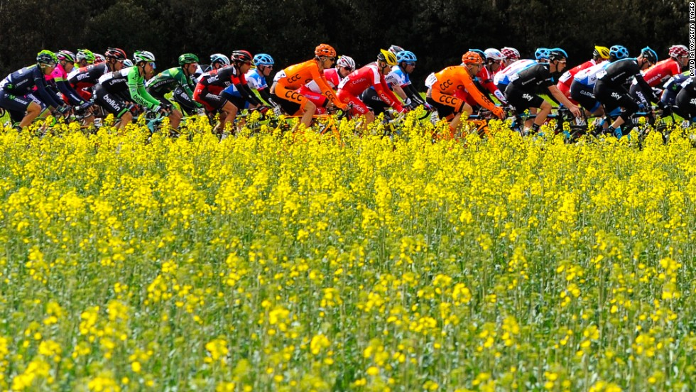 Cyclists ride in the peloton during stage 2 of the Volta a Catalunya on Tuesday, March 25, in Girona, Spain.