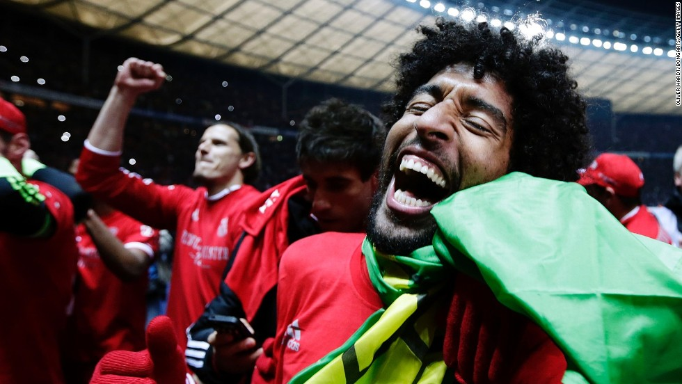 Dante, a defender for Bayern Munich, celebrates after a Bundesliga soccer match against Hertha Berlin on Tuesday, March 25, in Berlin. Bayern's win clinched its 24th Bundesliga title.