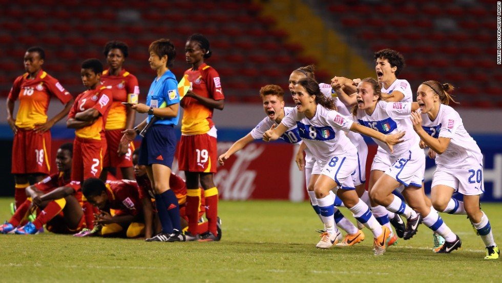 Italian players celebrate Thursday, March 27, after winning a penalty shootout against Ghana in the quarterfinals of the FIFA U-17 Women's World Cup.