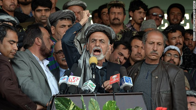 Presidential candidate Ashraf Ghani, address supporters in Mazar-i-Sharif.